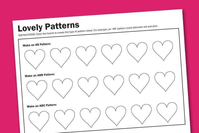 Pattern Worksheets » Valentine Pattern Worksheets - Preschool and ...