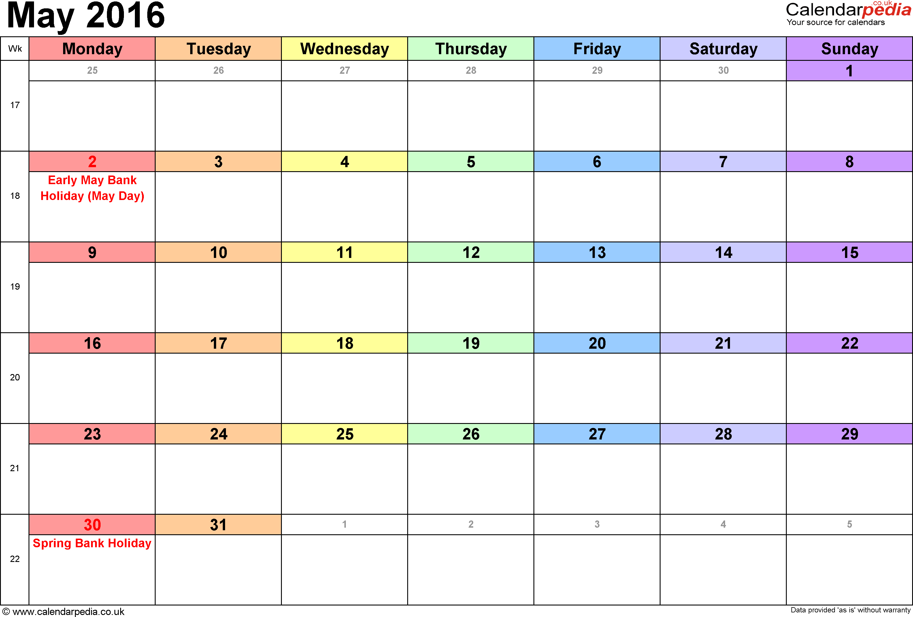 calendar may 2016 landscape orientation 1 page with uk bank holidays and week numbers