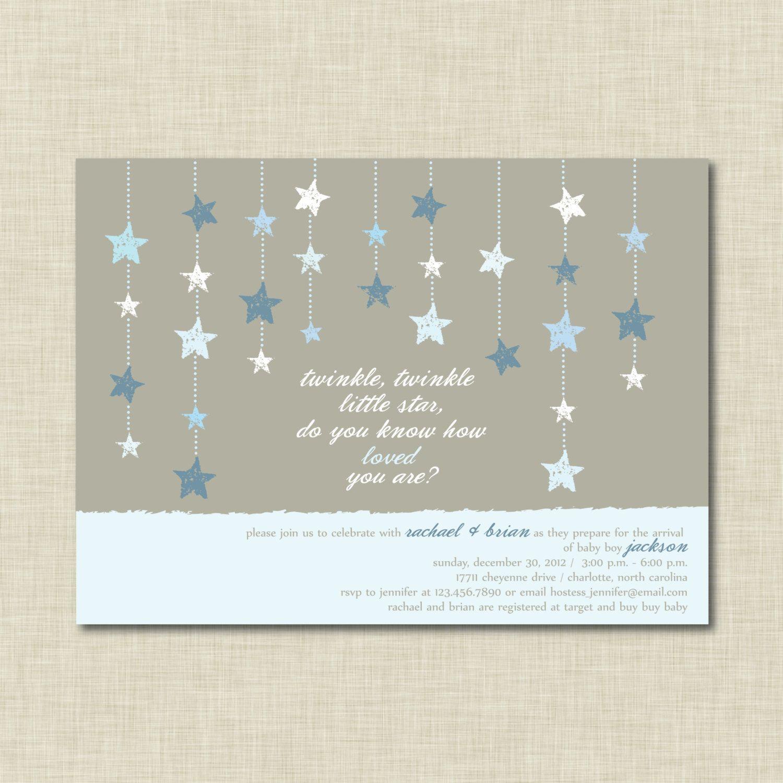 Twinkle Twinkle Little Star Baby Shower Invitation Blue $15 00