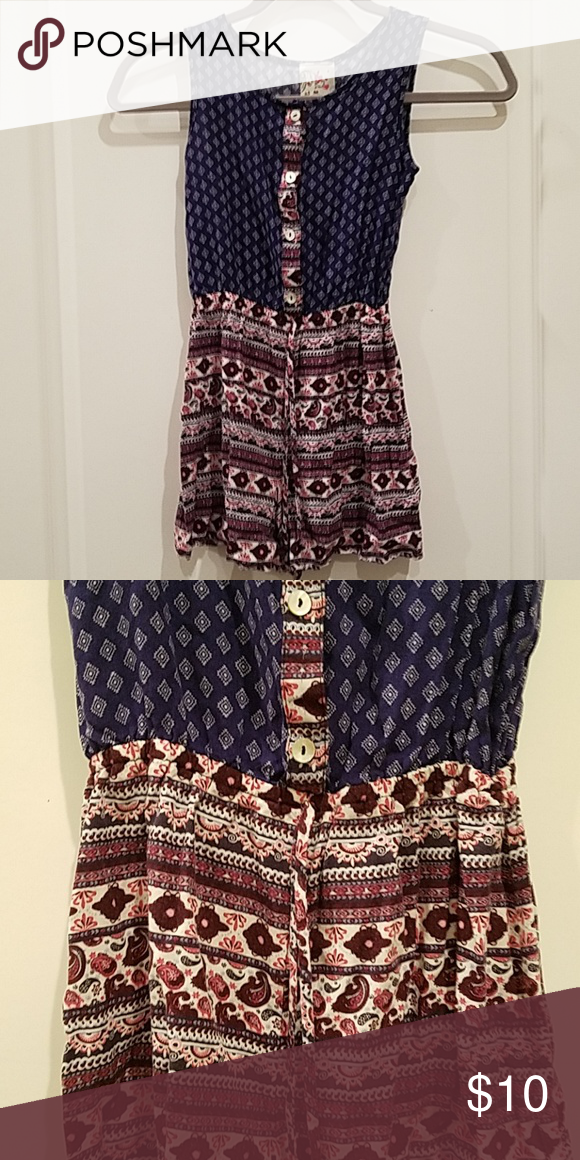 fc807374f8e8 Jenna   jessie girls romper Romper in Navy with burgundy on the bottom.  Preowned.