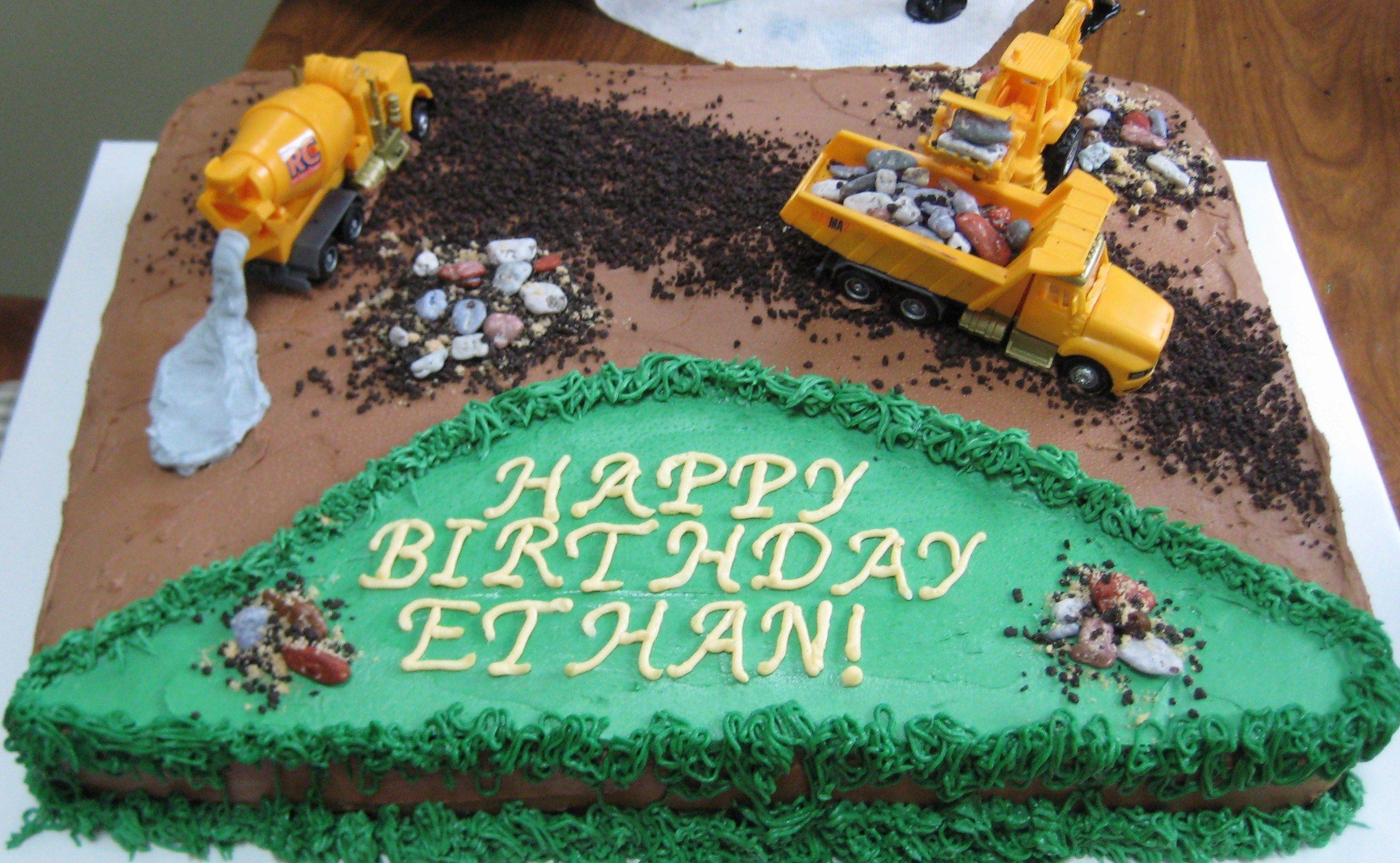 Construction Scene Birthday Cake 11 X 15 Sheet Cake