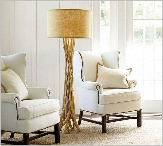 Marvelous Driftwood Floor Lamp In Cream Plus White Sofa On Wheat Carpet For Living  Room Decor Ideas