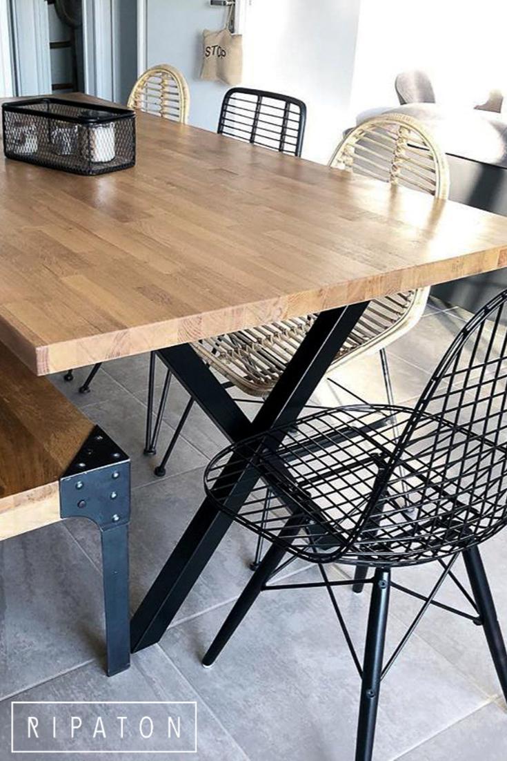Table Bois Metal Exterieur l'inflexible - pied pour table en acier (avec images
