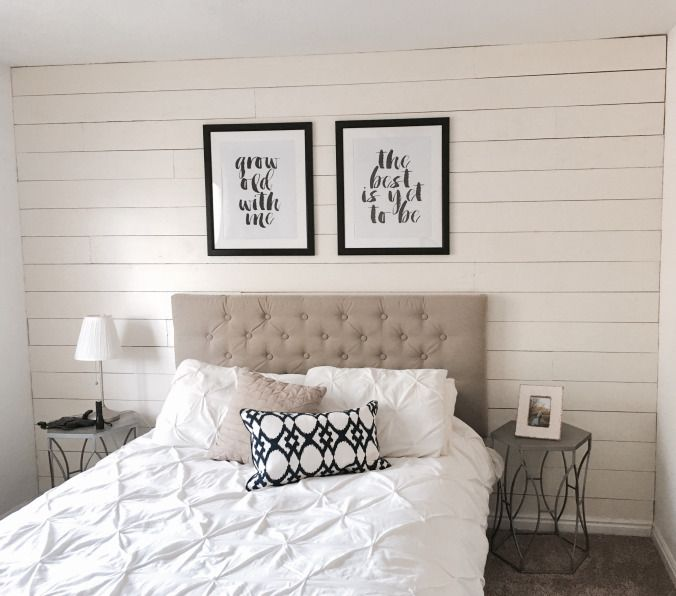 One Afternoon Ship Lap Accent Wall   White Wood Plank Wall   Bedroom Decor    Tufted Headboard   DIY   Home Decor   Design