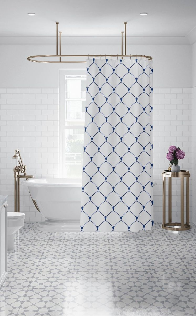Royal Blue Art Deco Custom Fabric Shower Curtain Geometric Bath