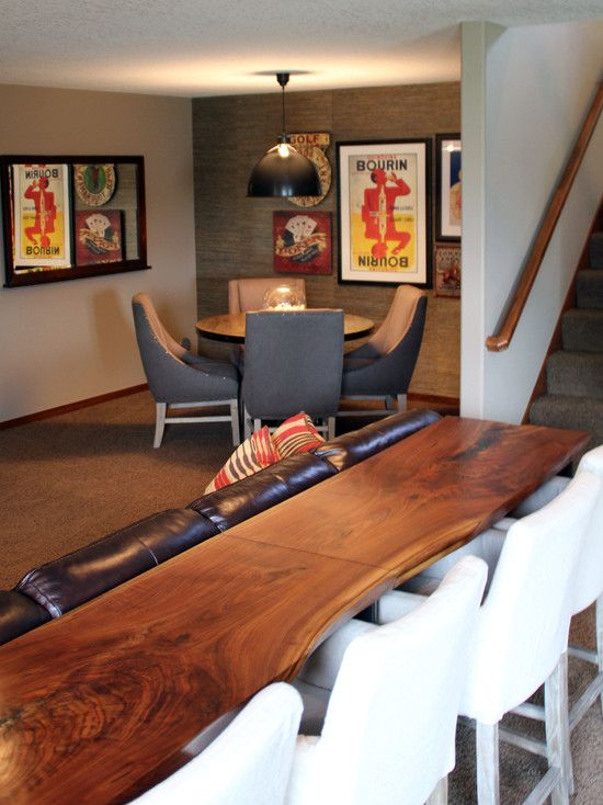 Contemporary Basement Also Inspiring Behind Couch Table Also White