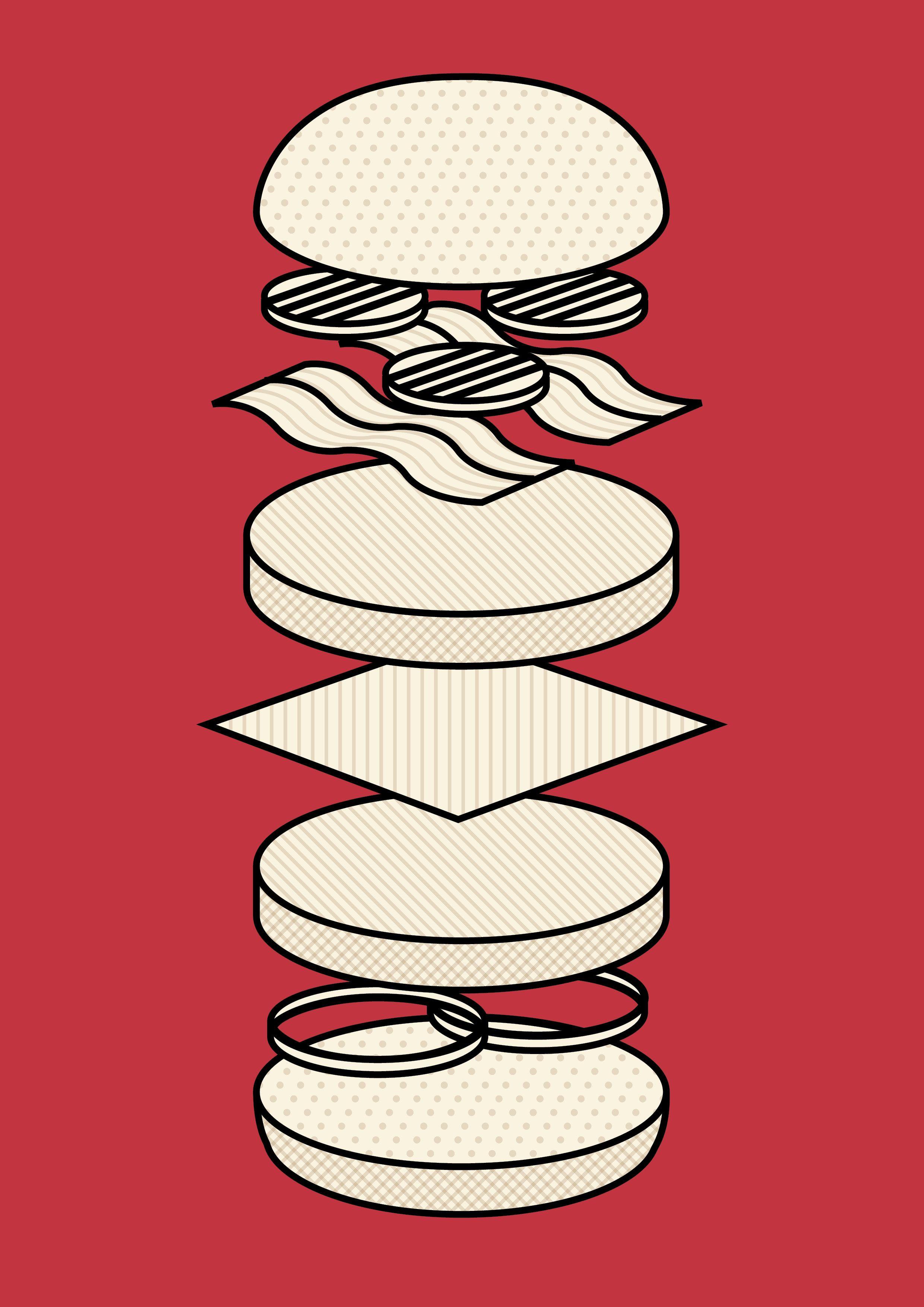 Deconstructed burger Illustration. Freelance graphic designer / illustrator living in London. Looking for work.  www.richardkeelingdesign.com