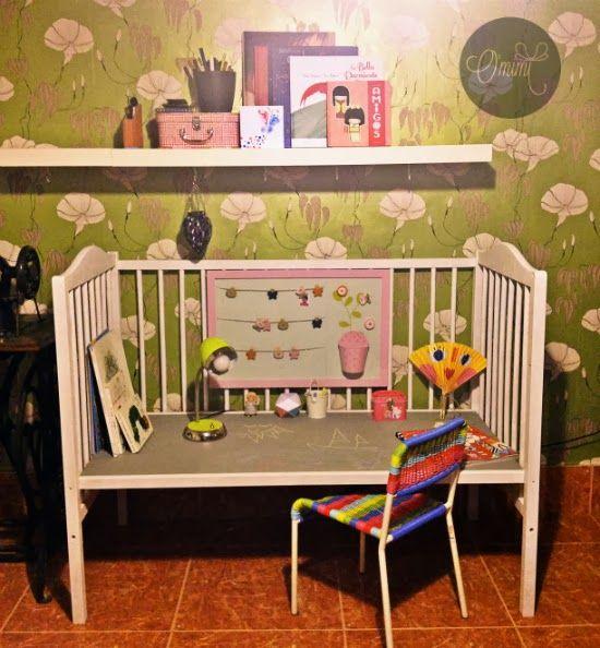 Cuna convertida mesa tutorial pintura pizarra cuarto color - Pintura habitacion ninos ...