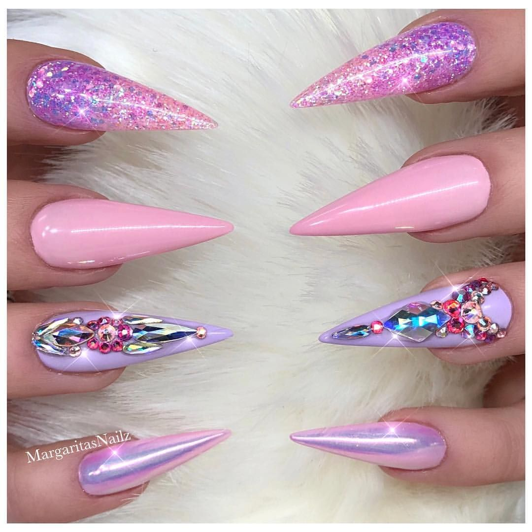 Pink and lavender ombré stiletto nails Glitter and chrome nail art ...