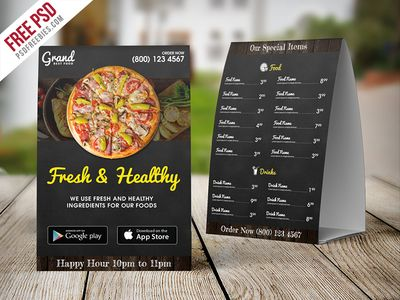 Restaurant Table Tent Template Free Psd Psdfreebies Com Card Templates Free Tent Cards All Restaurants