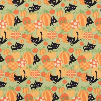 Halloween Cotton Print with Black Cats and Pumpkins Fabric by the Yard | Mood Fabrics