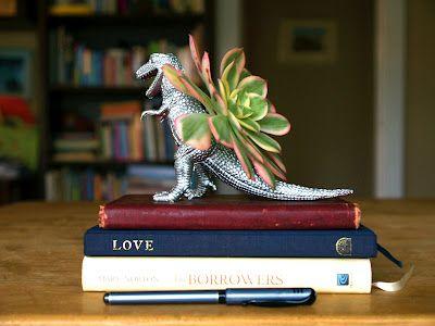 DIY Hipster Gifts:  Dinosaur Succulent Planter Pot