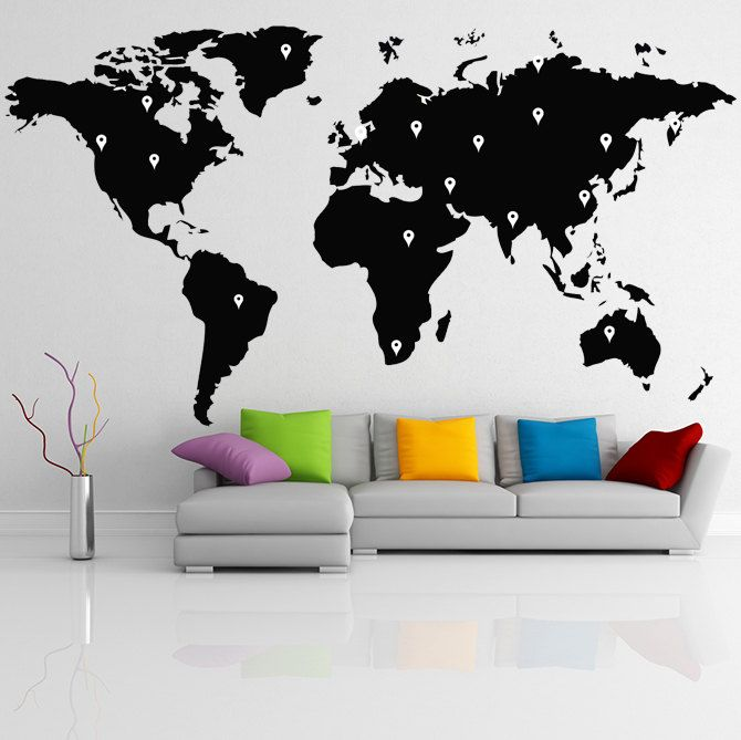 Vinyl wall decal world map with google dots earth atlas shiluette wall sticker vinyl wall decal world map publicscrutiny Images