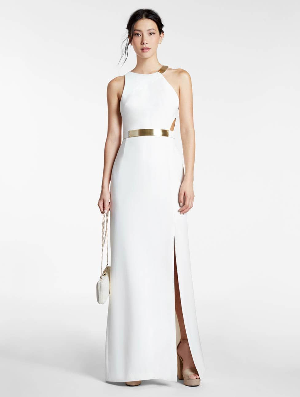 Metal Plate Crepe Gown | Crêpes, Halston heritage and Gowns