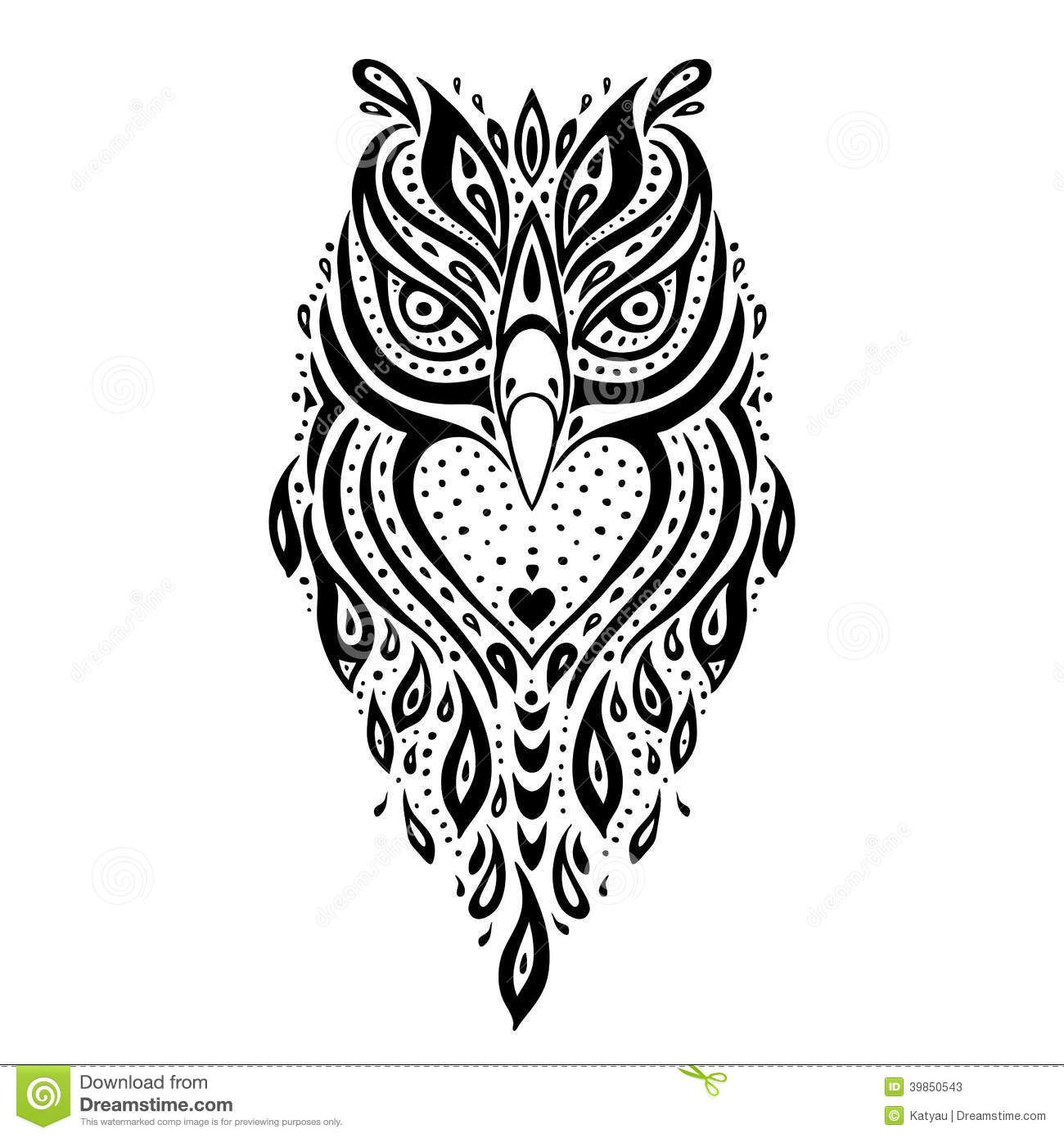 Decorative Owl Tribal Pattern Ethnic Tattoo Vector