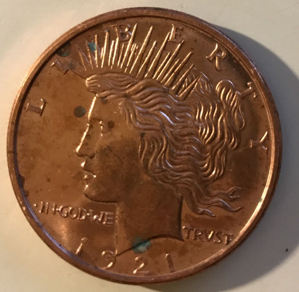 1921 1 Oz Copper Round Peace Dollar 999 Fine Copper Golden State Mint Peace Dollar Peace Dollar