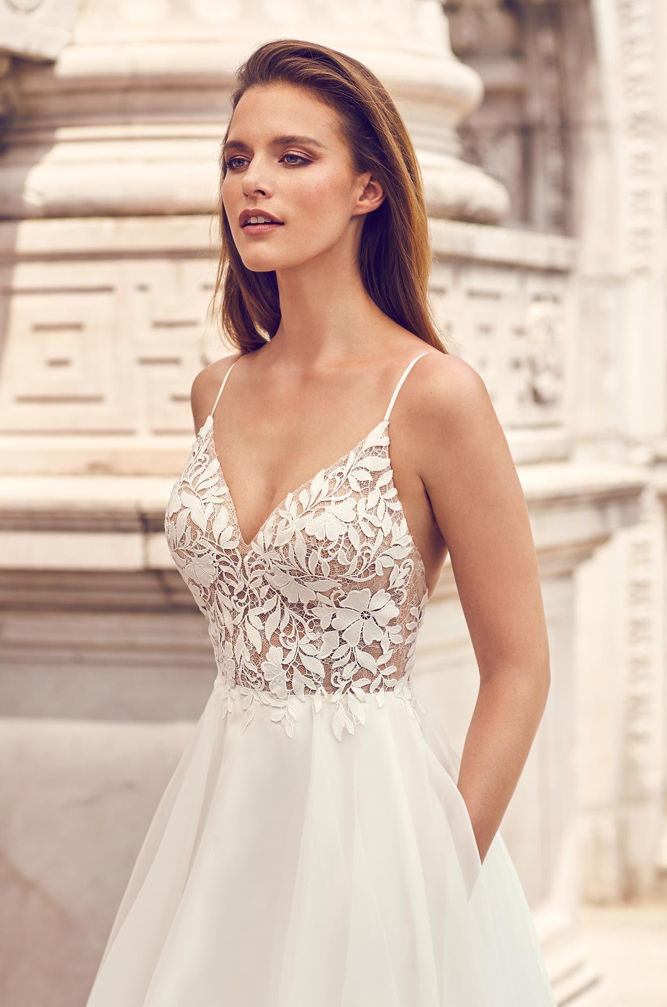 Romantic Lace Bodice Wedding Dress – Style #2225 | Mikaella Bridal
