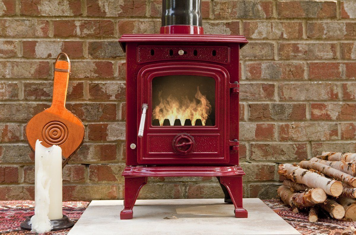 The Burgundy 4 5 Kw Enamel Cast Iron Clean Burn Wood Burning Multifuel Stove In Wine Red Amazon Co Uk Large Ap Wood Burning Stove Wood Stove Fireplace Wood