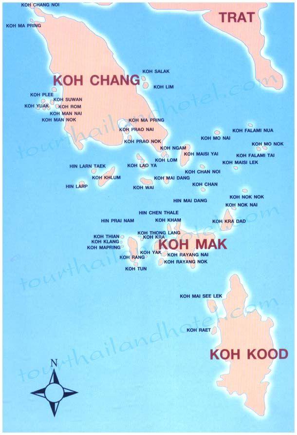 Koh Chang Thailand Map.Map Of Islands Of Thailand Bordering To Cambodia Koh Chang Koh Mak