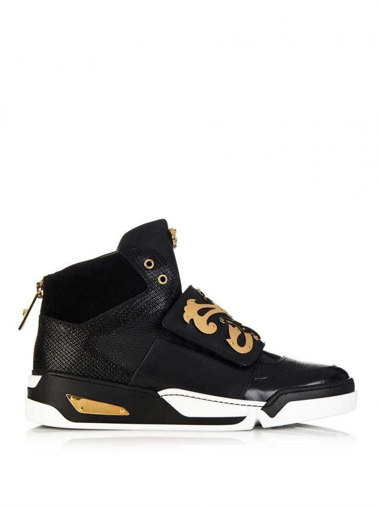 aeeb088c450d Versace Baroque-shield High-top Leather Trainers