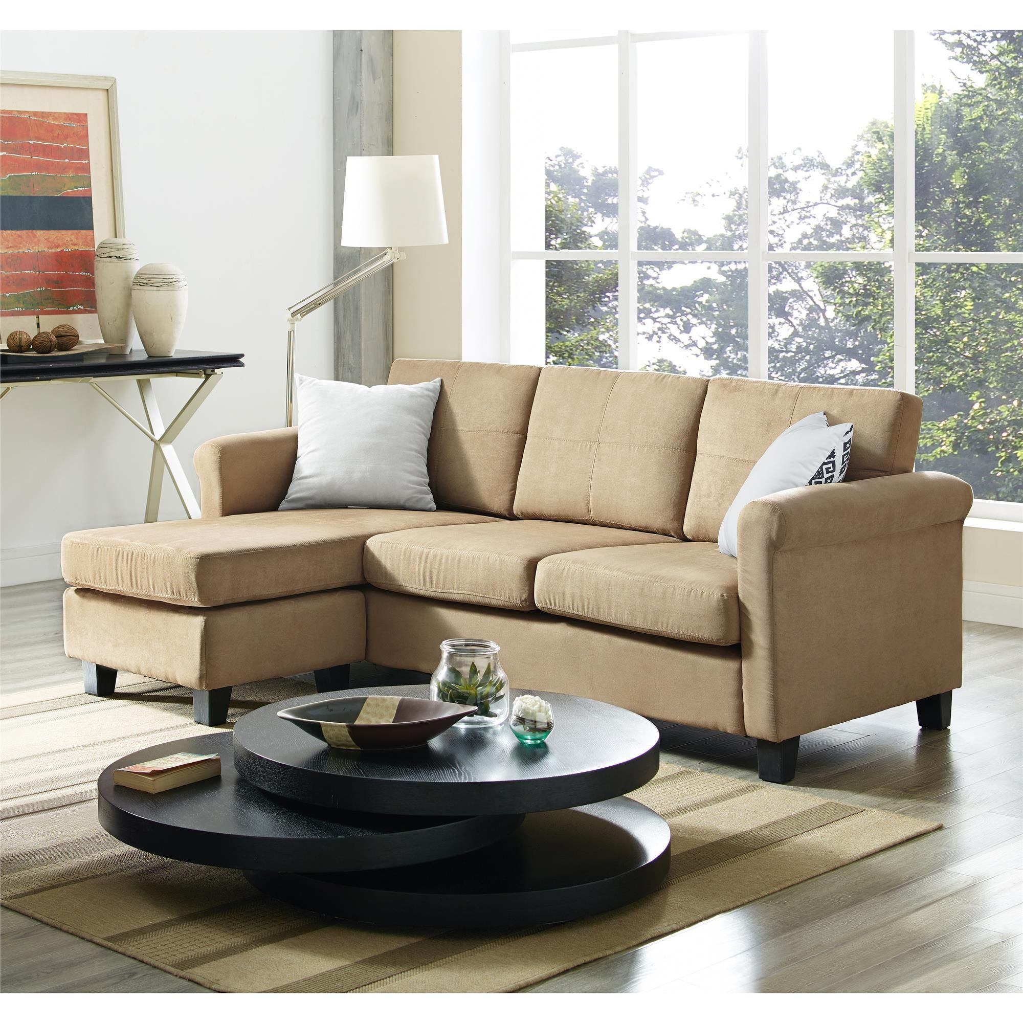 Have Comfortable And Stylish Seating Available With The Small Spaces Configurable Sectional Sofa This Combines A Rolled Arm Design