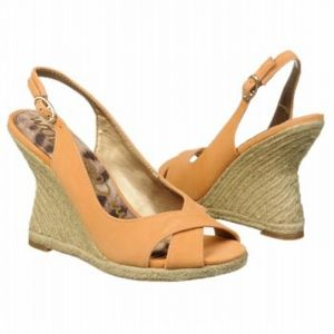 SALE - Sam Edelman Arianna Wedge Heels Womens Yellow Leather - Was $150.00 - SAVE $45.00. BUY Now - ONLY $105.00.