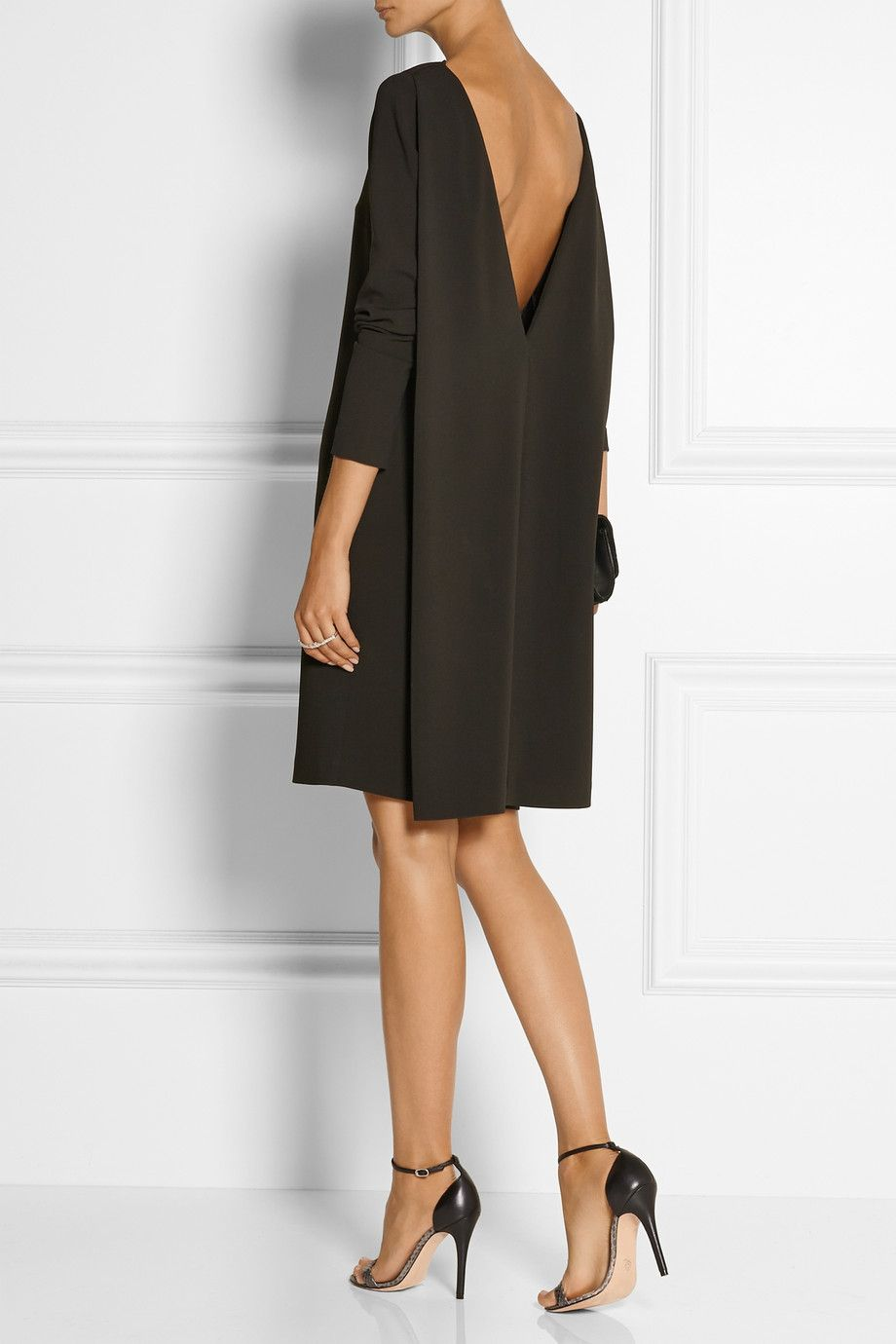 Little Black Dress Calvin Klein Collection Amsai Stretch Crepe Net A Porter Com