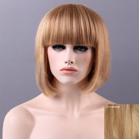 Women's Charming Human Hair Bob Full Bang Wig