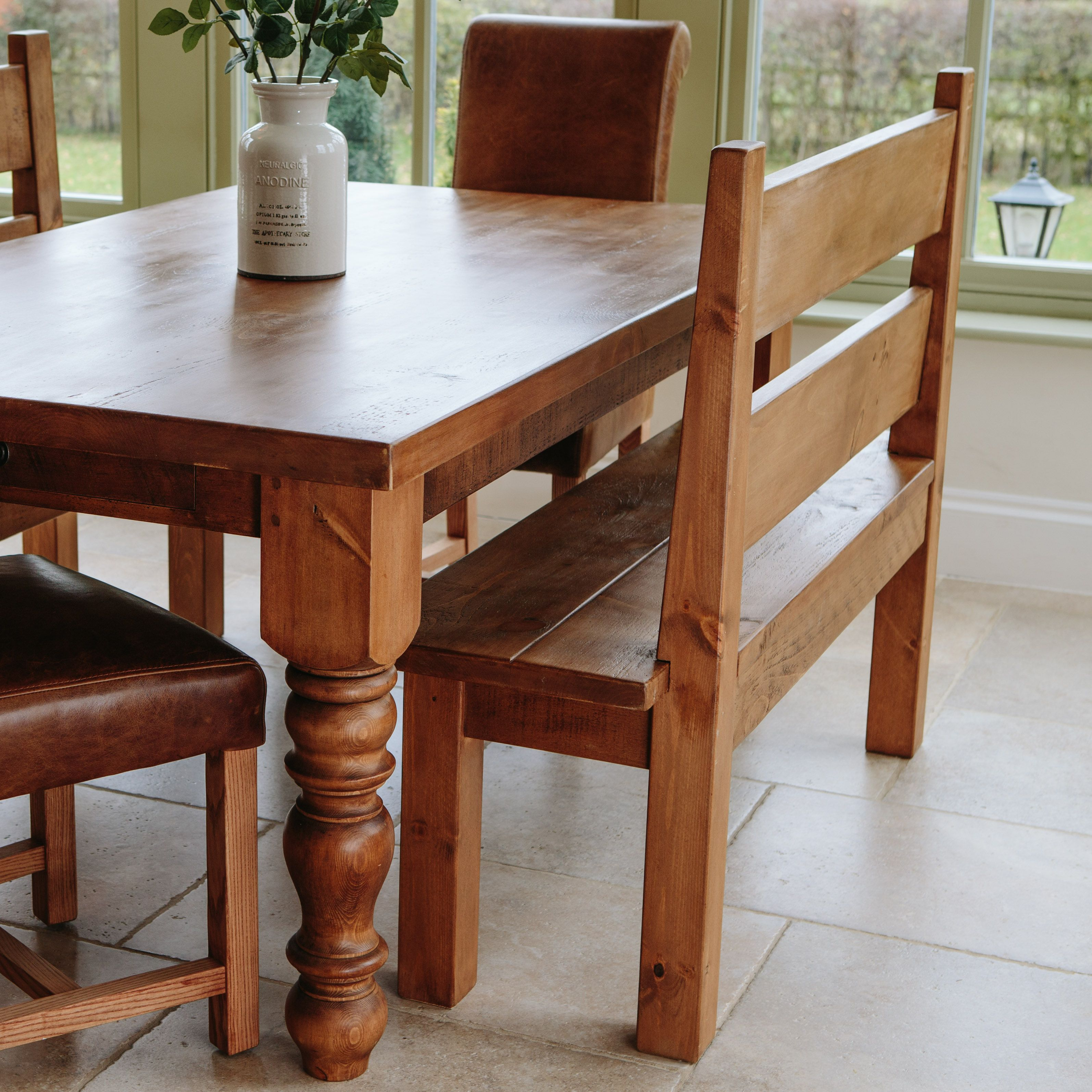 Hand waxed Rugged Pew Bench & Chunky Hardwick Dining Table