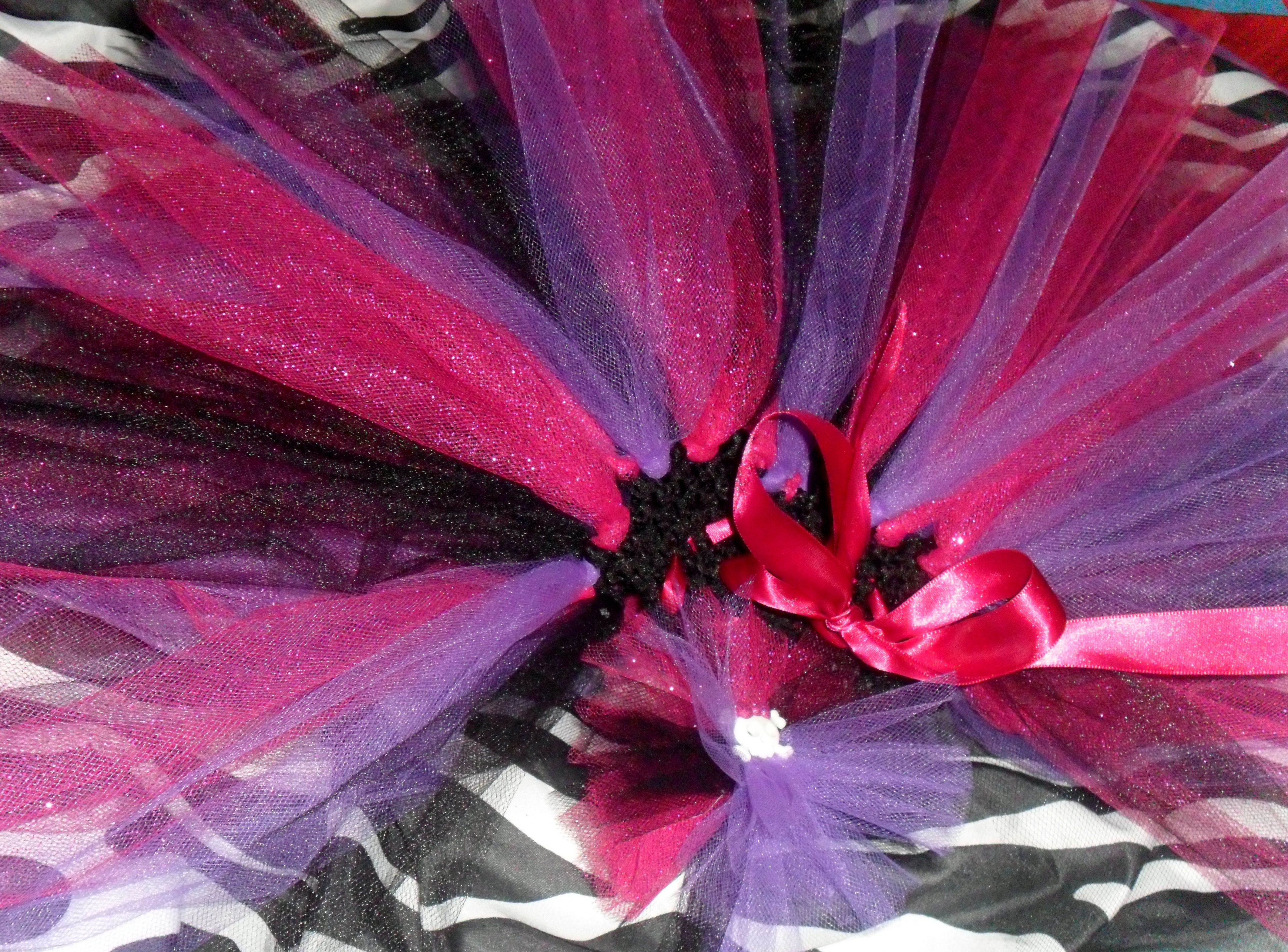 Black Pink And Purple Tutu With Matching Hair Bow 20