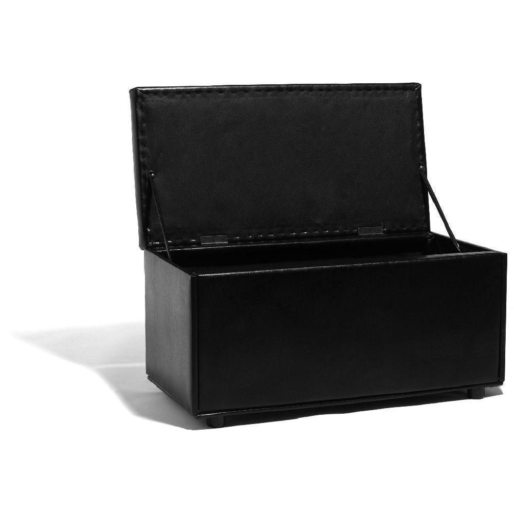 Pouf coffre noir, dim. 90x45xh.49 cm, MDF (panneau de fibres de bois) et polyuréthane.