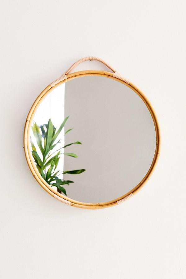 Corin Rattan Round Wall Mirror In 2020 Round Wall Mirror