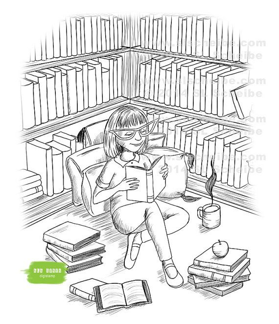 Digital Stamp Book Lover Library Reader Girl Reading A Book Digistamp Instant Download In 2021 Book Stamp Digital Stamps Girl Reading Book