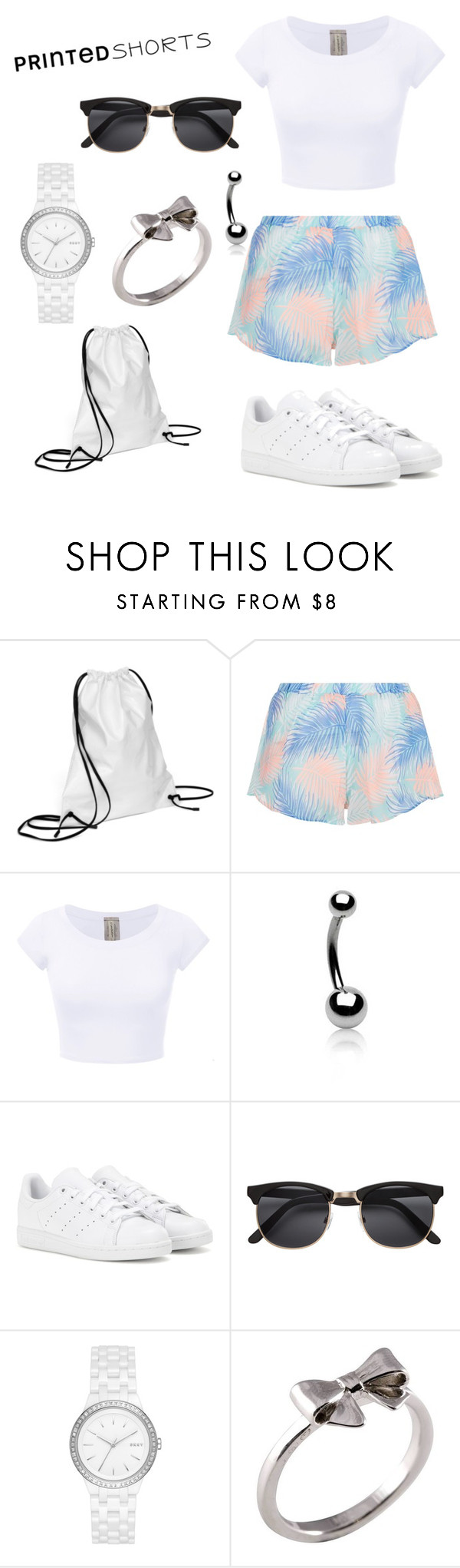 """""""Untitled #20"""" by kleine-vanni ❤ liked on Polyvore featuring Xenab Lone, New Look, Bling Jewelry, adidas, DKNY, Joy Everley and printedshorts"""