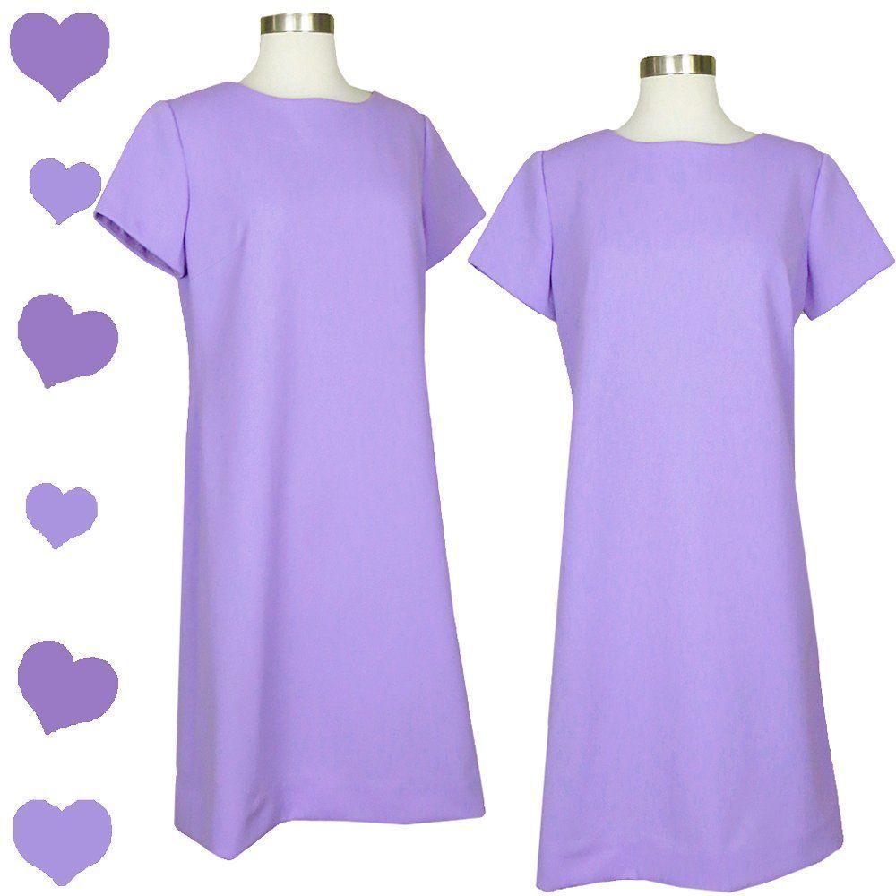 Vintage 60s Lavender Purple Mod GoGo Shift Dress S M Short Sleeves A ...