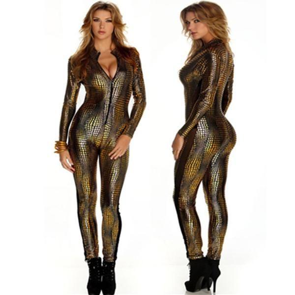 Womens Snakeskin Silver Stretch Leggings ish Pattern