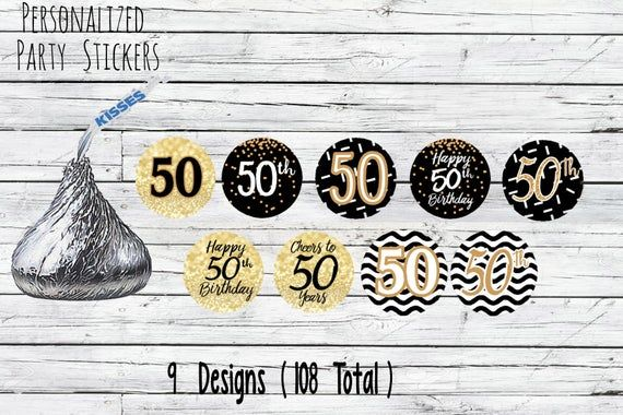 50th Birthday Party Decorations, Black and Gold Birthday Party Favors, Happy 50th Birthday Stickers #50thbirthdaypartydecorations