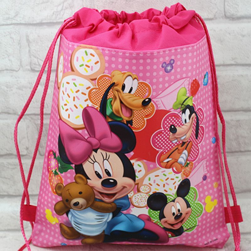 high qulity qute minnie school bag non-woven string shoe backpack shopping bag for boys and girls birthday gifts bag