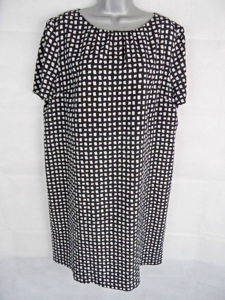 5eaa761f9d8 Womens JAEGER Shift Dress Size 16 Black and White Geometric Print Plus Size   fashion