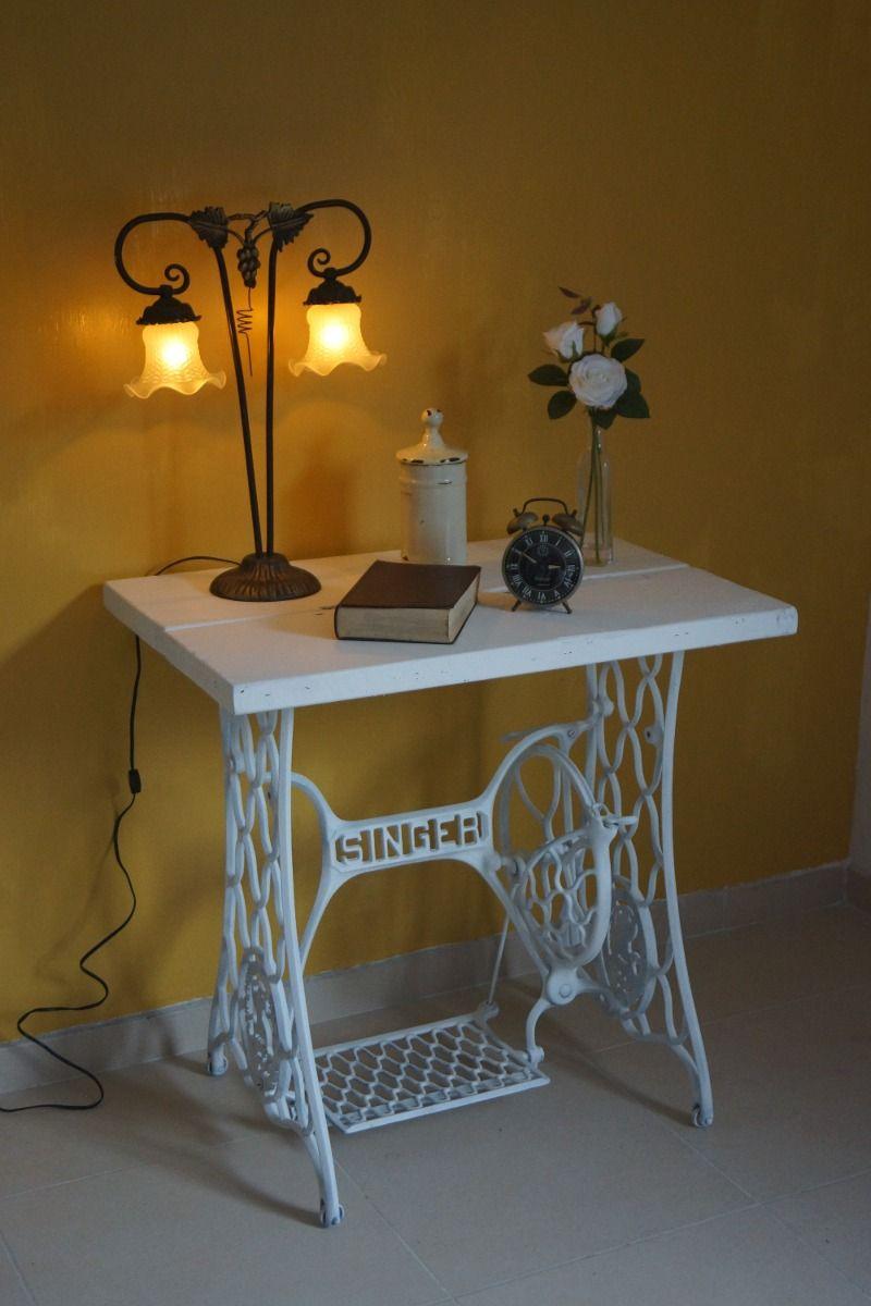 Mesa Rustica Decorativa Con Base Antigua De Maquina De Coser 16970  # Muebles Maquina De Coser Singer