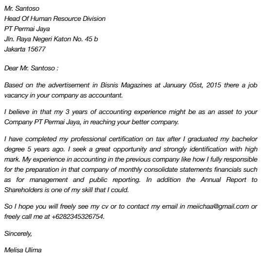Contoh Surat Lamaran Kerja Bahasa Inggris Untuk Perusahaan Dan