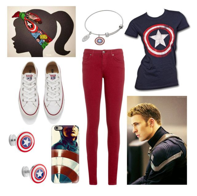 """team captain america"" by raya-s ❤ liked on Polyvore featuring Marvel, Casetify, Converse and Tommy Hilfiger"