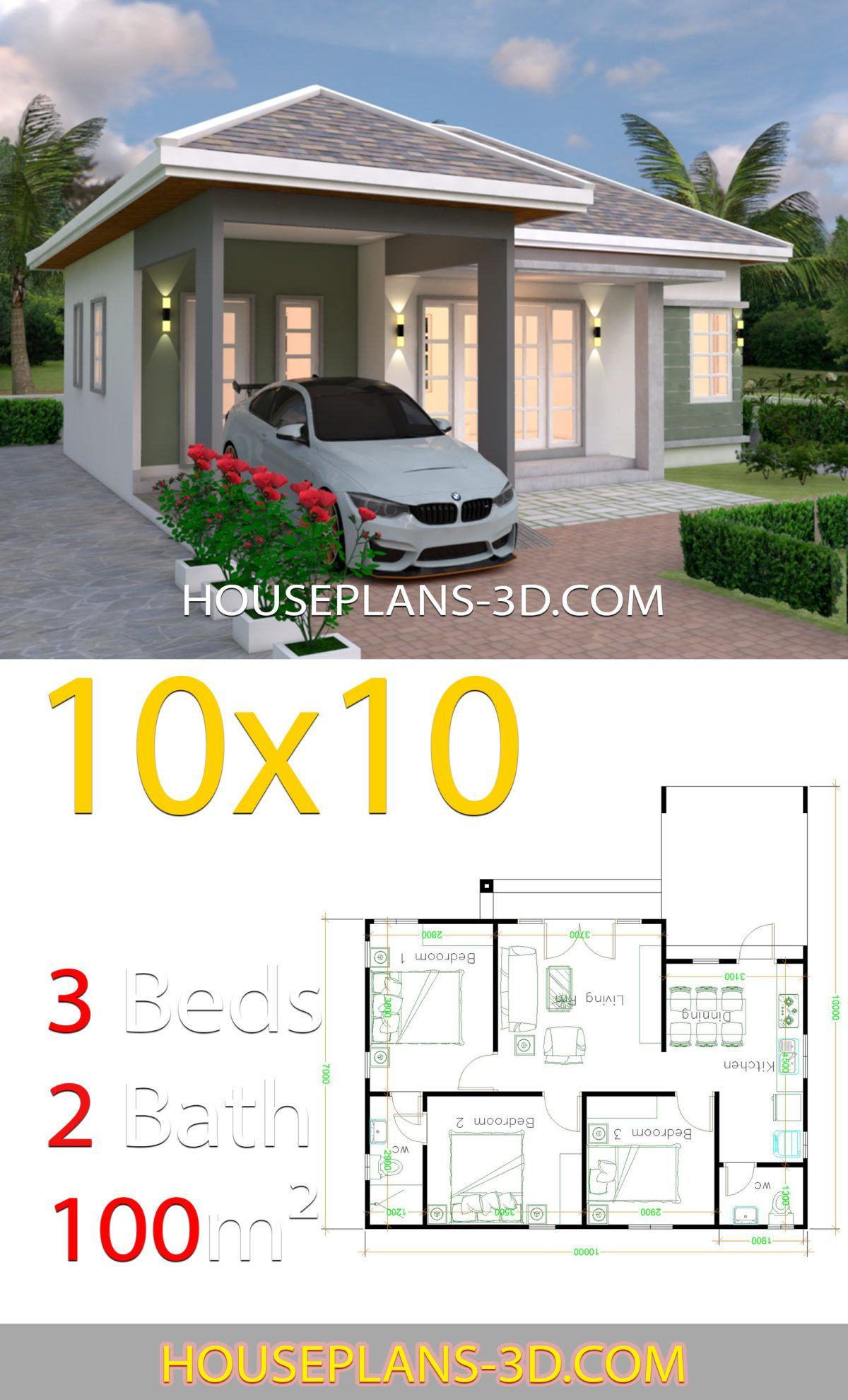 10x10 Bedroom Floor Plan: House Design 10x10 With 3 Bedrooms Hip Roof (With Images