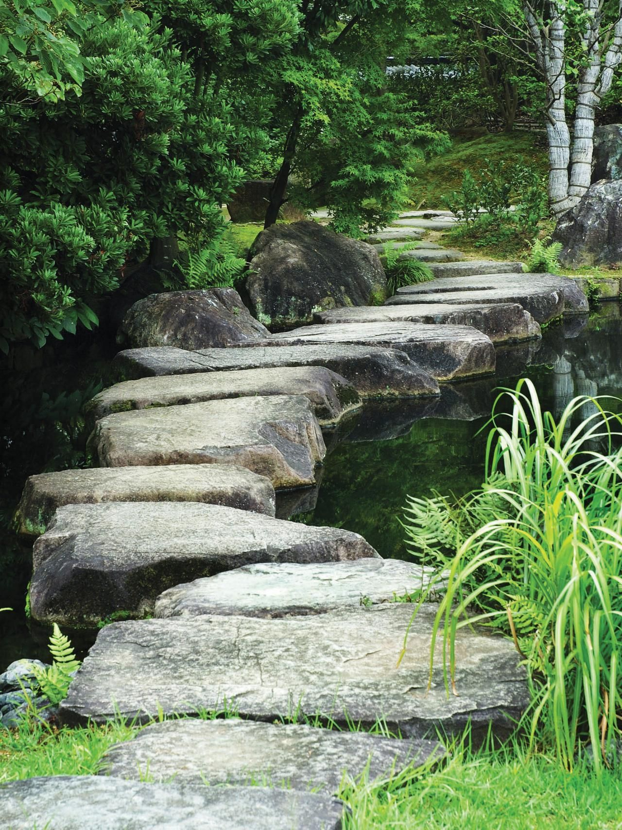 Smooth stepping stones exude a feeling of calm and peace for Smooth stones for landscaping