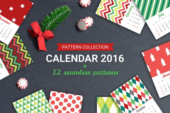 Geometric Calendar 2016 Seamless Patterns Graphic Design Pattern Calendar
