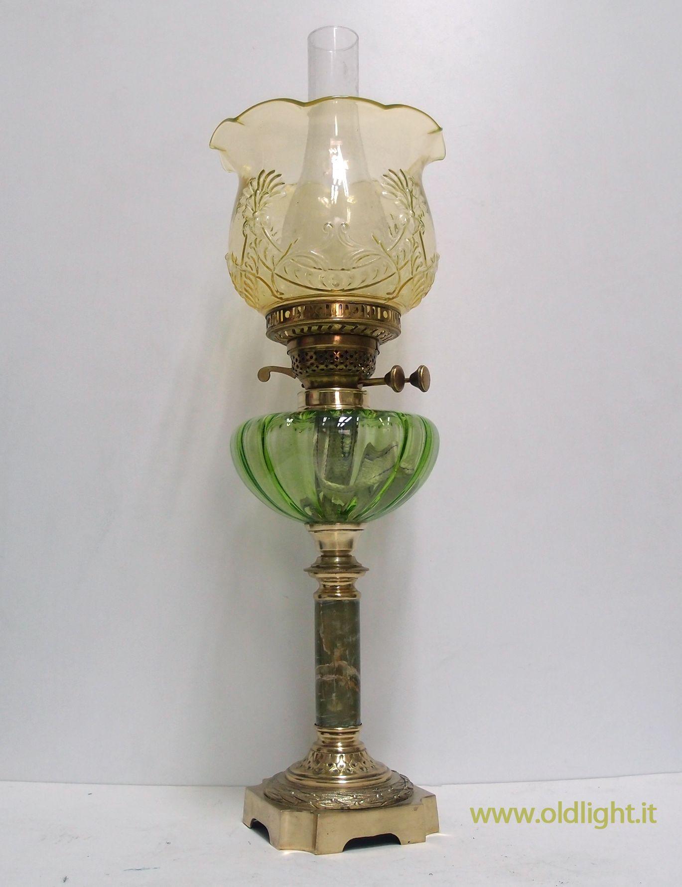Bellisima lampada da tavolo inglese stile vittoriano in ottone - Cappelli per lampade da tavolo ...
