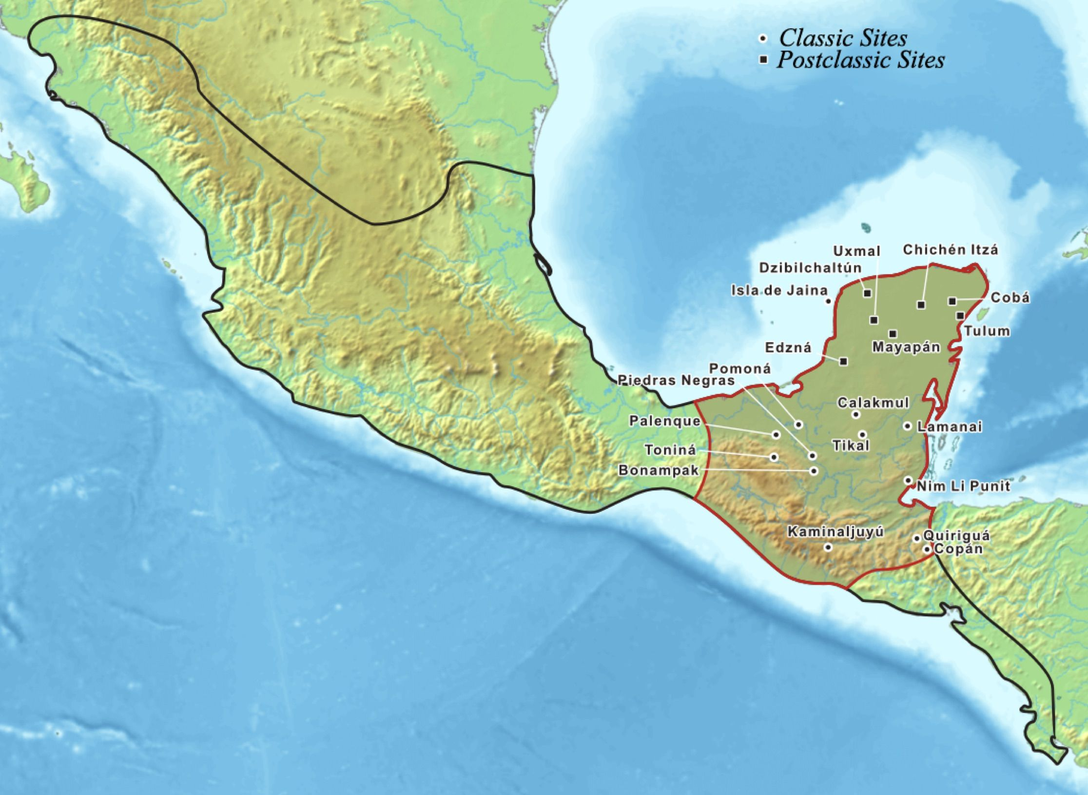 Map showing the historic Mixtec area Pre Classic