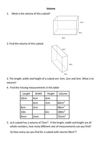 Volume worksheet | Volume worksheets