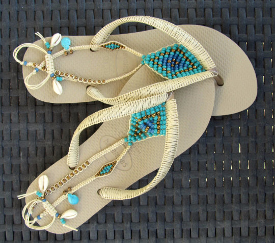 88c5abc851cd SALE Turquoise Gold   Bronze Beaded Bohemian Flip by TribesBySaraK ...