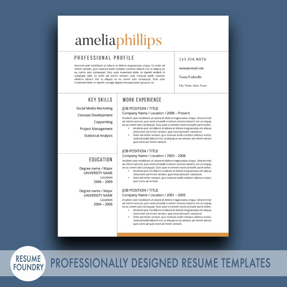 Resume Template Word by ResumeFoundry on @creativemarket | Design ...